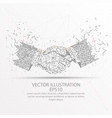 business handshake low poly wire frame on white vector image vector image