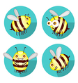 Cartoon set flat bees isolated on white vector image