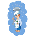 Cook with ladle in hand vector image vector image