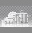 crockery and cookware realistic icon set vector image vector image