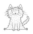 cute cat or kitten outline coloring book page vector image vector image