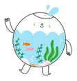 cute little aquarium character with fish