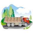 drawing red tipper dump truck vector image vector image