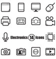 electronics set of 14 icons with lines in flat vector image vector image