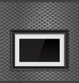 Empty black photo frame on metal perforated vector image
