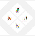 flat icon relatives set of son daugther boys and vector image vector image