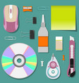 flat set of stationery on the table vector image vector image