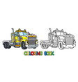 funny heavy truck with eyes coloring book vector image