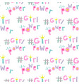 girl power hashtags seamless pattern vector image