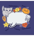 Halloween kawaii greeting card with cute sticker vector image vector image