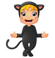 happy little girl wearing cat costume waving hand vector image vector image