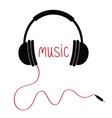 Headphones red cord and word Music Card Flat vector image vector image