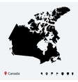 High detailed map of Canada with navigation pins vector image