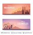 indianapolis and los angeles famous city scapes vector image vector image