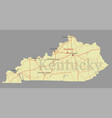 kentucky accurate exact detailed state map vector image