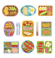 lunch boxes top view colorful vector image vector image