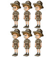man in safari outfit with different expressions vector image vector image