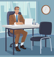 manager gesturing his hands to chair for visitors vector image vector image