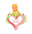 mothers day card template happy beautiful mother vector image vector image