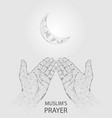 muslim prayer hands geometric polygonal vector image