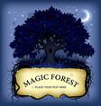 night oak tree wih a banner vector image
