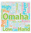 Omaha Rules How to Play Omaha Poker text vector image vector image