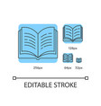 open book blue linear icons set vector image