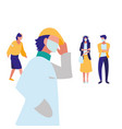 people in city wearing face mask vector image vector image