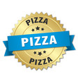 pizza 3d gold badge with blue ribbon vector image vector image