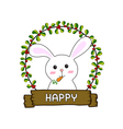rabbit in the red cherries round frame vector image