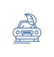 Retro car line icon concept retro car flat
