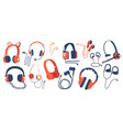 set headphones wired and wireless earphones vector image