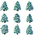 Set of pixel winter snowy tree vector image vector image