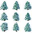 Set of pixel winter snowy tree vector image