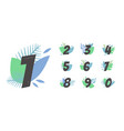 set with beautifully written numbers cartoon vector image