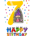 seventh birthday cartoon design vector image vector image