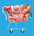 shopping supermarket cart full meat vector image vector image
