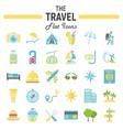 travel flat icon set tourism symbols collection vector image vector image