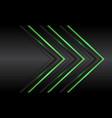 triple green light neon arrow direction on black vector image vector image