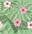 tropical leaves and hibiscus seamless green vector image vector image