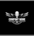 vintage retro guitar wing wings music logo design vector image