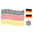waving german flag pattern of boat steering wheel vector image vector image