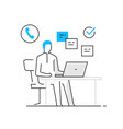 woman in office at laptop business work orders vector image vector image