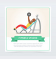 young black man exercising chest with barbell on vector image vector image
