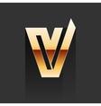 Gold Letter V Shape Logo Element vector image
