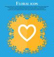 Medical heart Love Floral flat design on a blue vector image