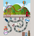 amusement park maze game template vector image vector image