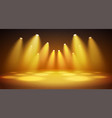 bright warm spotlights with stage big space for vector image vector image