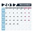 Calendar 2017 November design template vector image