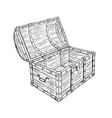 cartoon drawing old empty open pirate chest vector image vector image